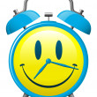 Classic alarm clock with smiley face - Stock Vector