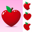 Red heart apple — Vettoriali Stock