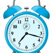 Blue retro alarm clock — Vector de stock #6349895
