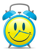 Classic alarm clock with smiley face — Vetor de Stock