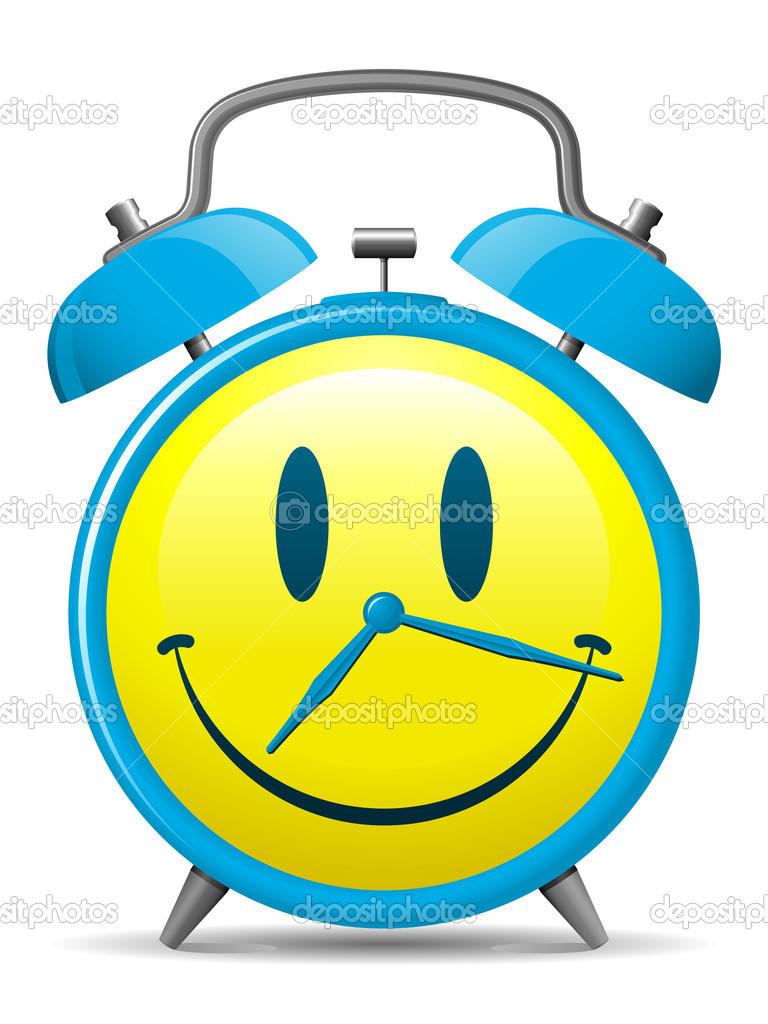 Classic alarm clock with smiley face — Stock Vector #6349733
