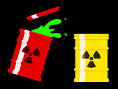 Yellow and red drum with spilled green radioactive liquid — Stock Vector