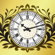 Stock Vector: Big ben clock with wreath
