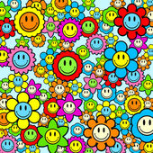 Colorful smiley face flower background — Stock Vector