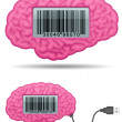 Royalty-Free Stock Vector Image: Brain with barcode screen and usb cable