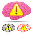 Brain with caution sign collection — Stock Vector