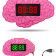Digital alarm clock brain with usb cable plug — Stock Vector