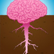 Strong brain thought with roots — Stock Vector