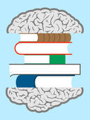 Brain books sandwich — Stock Vector