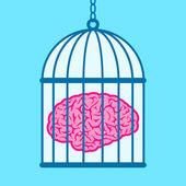 Brain captured in birdcage — Stock Vector