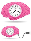 Ancient analog brain clock with usb cable — Stock Vector