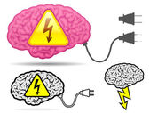 High voltage brain collection with connector plug — Stock Vector