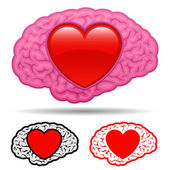 Brain with heart thinking of love — Stock Vector