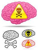 Danger skull brain collection — Stock Vector