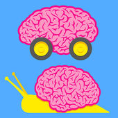 Fast brain on wheels and slow snail brain — Stock Vector