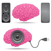 Speaker brain with usb cable — Stock Vector
