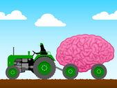 Piccolo trattore tirando un enorme cervello — Vettoriale Stock