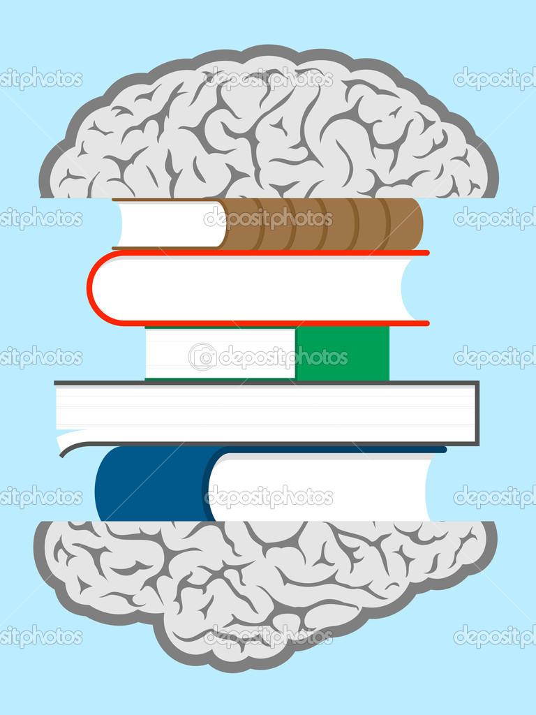 Brain books sandwich — Stok Vektör #6424741