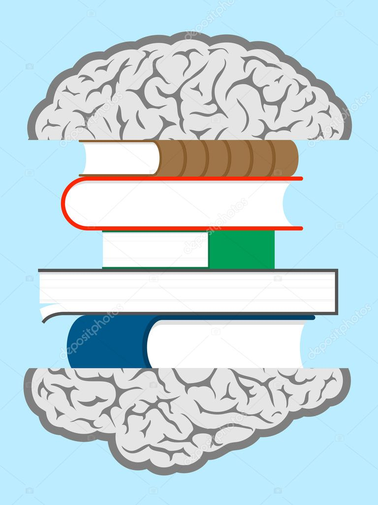 Brain books sandwich — Vettoriali Stock  #6424741