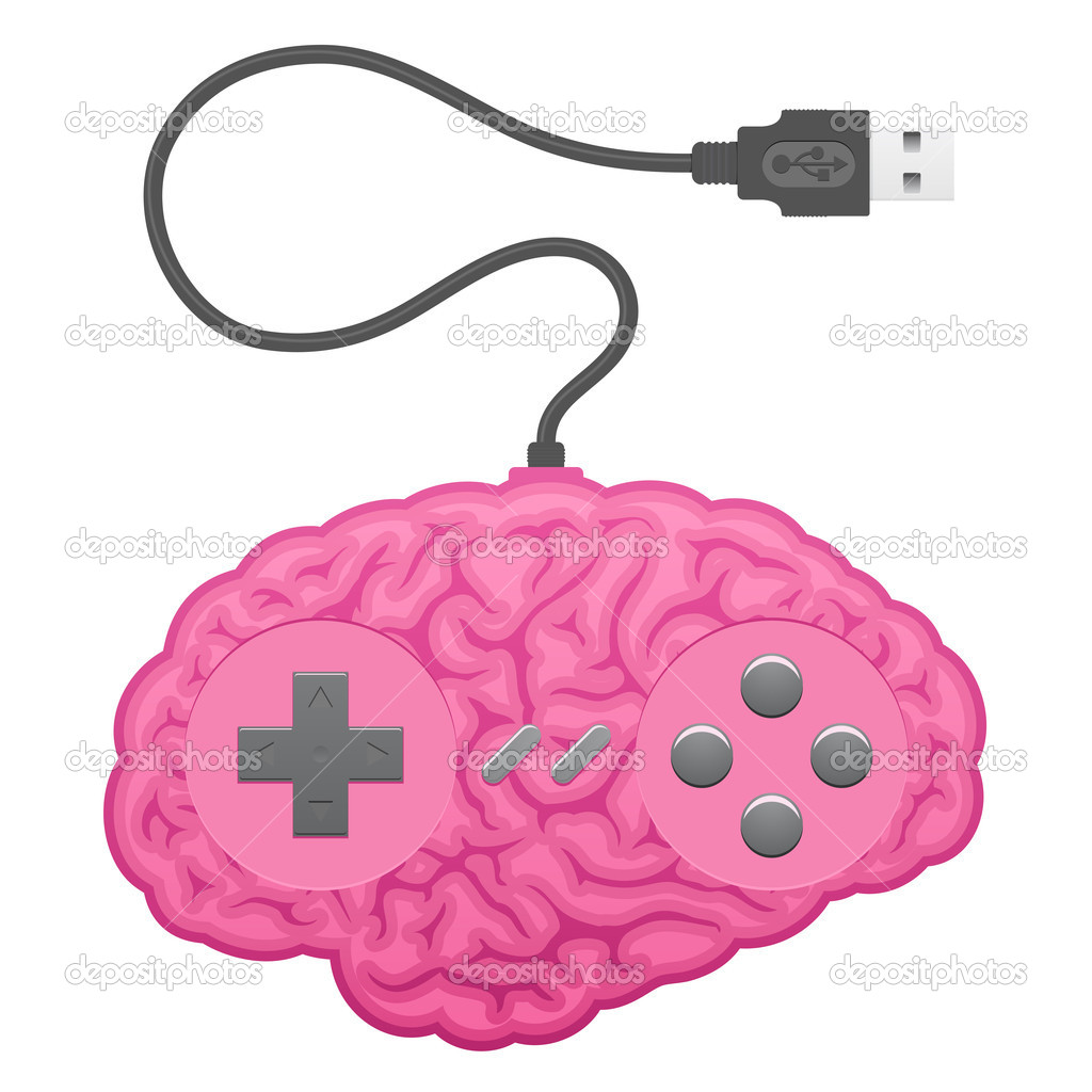 Computer Brain Icon Brain Computer Game Pad