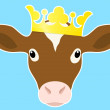 Royal calf head with crown — Stock Vector