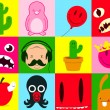 Royalty-Free Stock Vector Image: Colorful cartoon icon collection