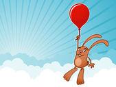 Fond de ciel de ballon lapin mignon — Vecteur