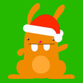 Cute bunny with santa hat — Stock Vector