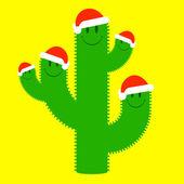 Cute santa cactus family — Stock Vector