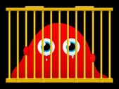 Cute sad blob monster in cage — Stock Vector