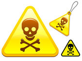Caution sign with skull and bones — Stock Vector