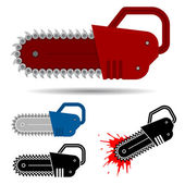Chainsaw set with blood — Stock Vector