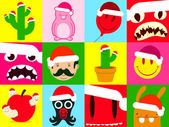 Colorful santa cartoon icon collection — Cтоковый вектор