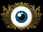 Eyeball with ornamental wreath — Stock Vector