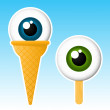Eyeball popsicle ice cream — Stock Vector