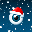 Eyeball santa on snowy background — Stock Vector