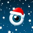 Eyeball santa on snowy background — Stock Vector