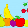 Stock Vector: Fruits still life doodle