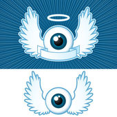Eye with angel wings and banner — Stock Vector