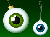 Eyeball christmas baubles — Vecteur