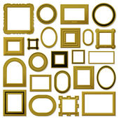 Collection of golden vintage picture frames — Stock Vector