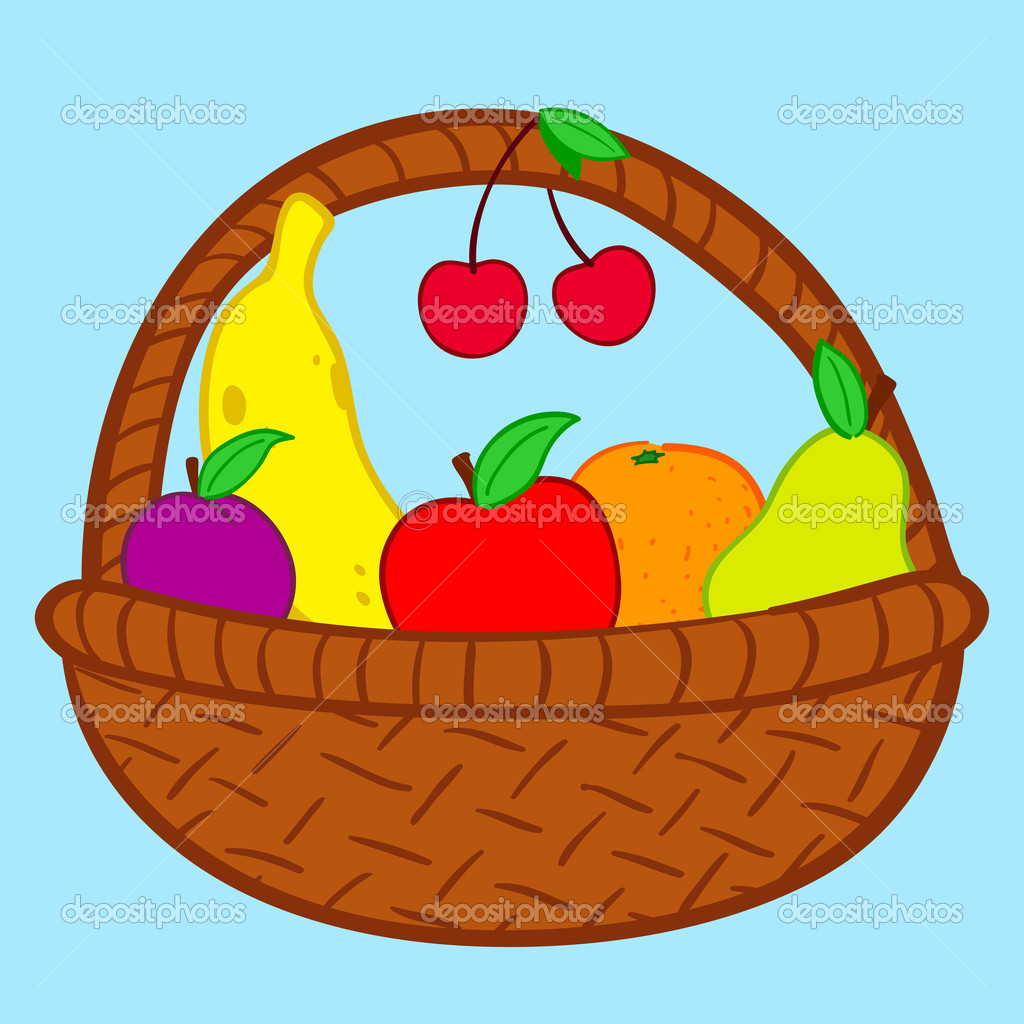 Fruits in basket doodle - Stock IllustrationFruits Basket Clipart