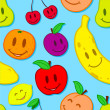 Seamless, smiling fruit background — Stock Vector