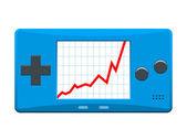 Consola de juegos portátil con ascendente gráfico bursátil — Vector de stock