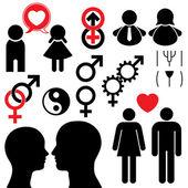 Man and woman symbol set couple — Stock Vector