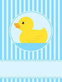 Cute rubber duck greeting card — Stock Vector