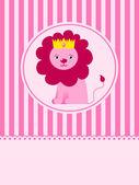 Cute llion king greeting card — Stock Vector