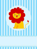 Cute lion on blue greeting card background — Stock Vector