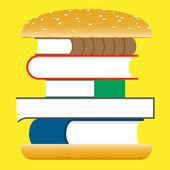 Books hamburger fast food — Stock Vector