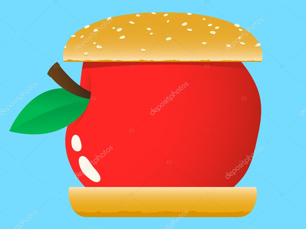 Apple hamburger fast food — Stock Vector #6512419